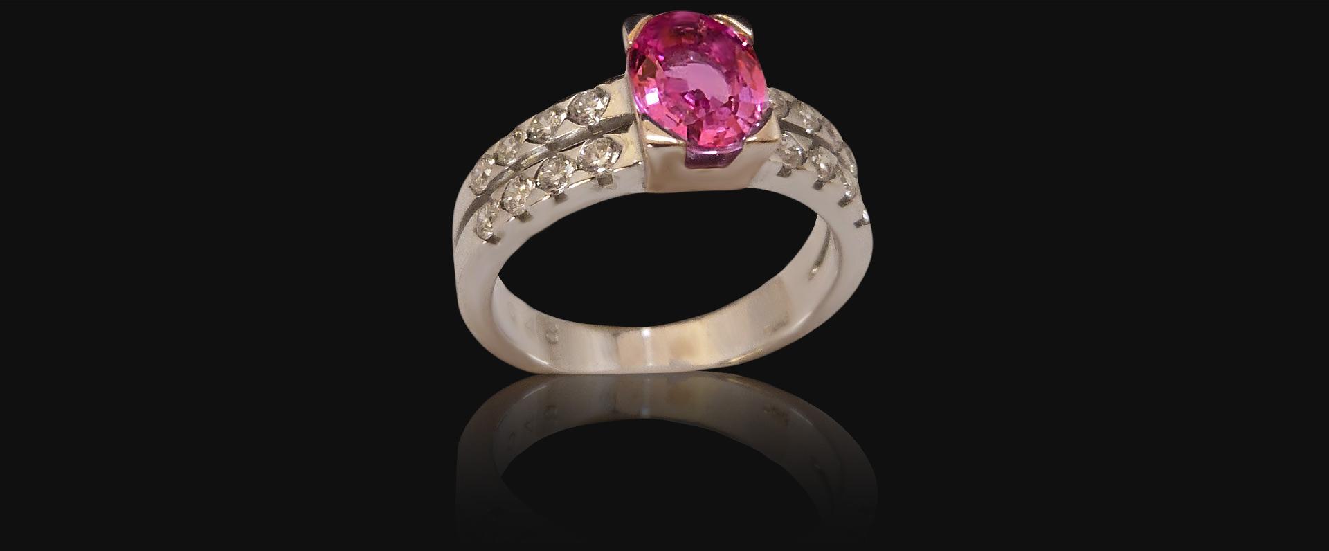 Bague or blanc de 7g60, saphir 1,60 carat, Diamants 0,48 carat - PRIX : 3975 €