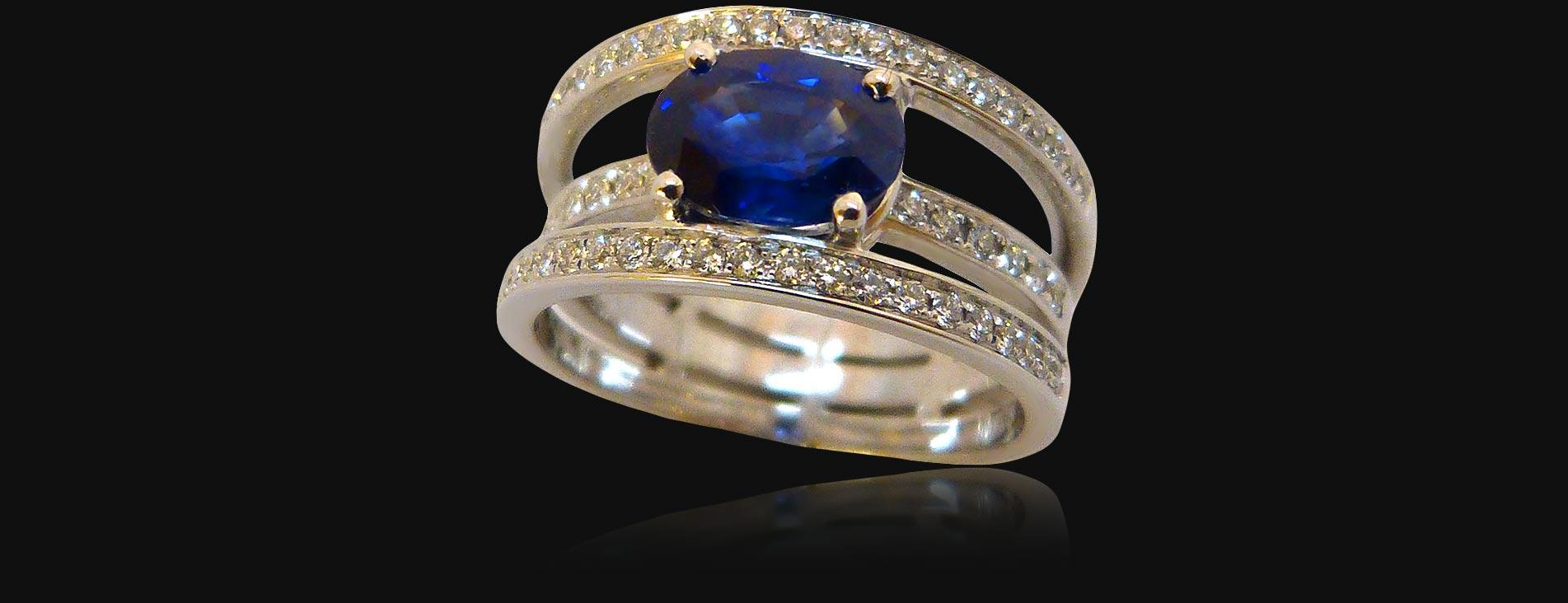 Bague or blanc de 7g51, saphir 1,86 carat diamants 0,45 carat. - PRIX : 6490 €