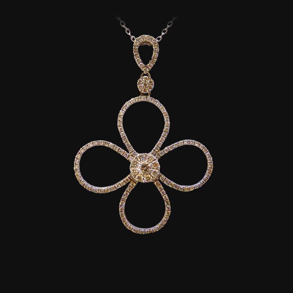 Pendentif or blanc de 2g96, diamants 0.79 carat - PRIX : 2410 €