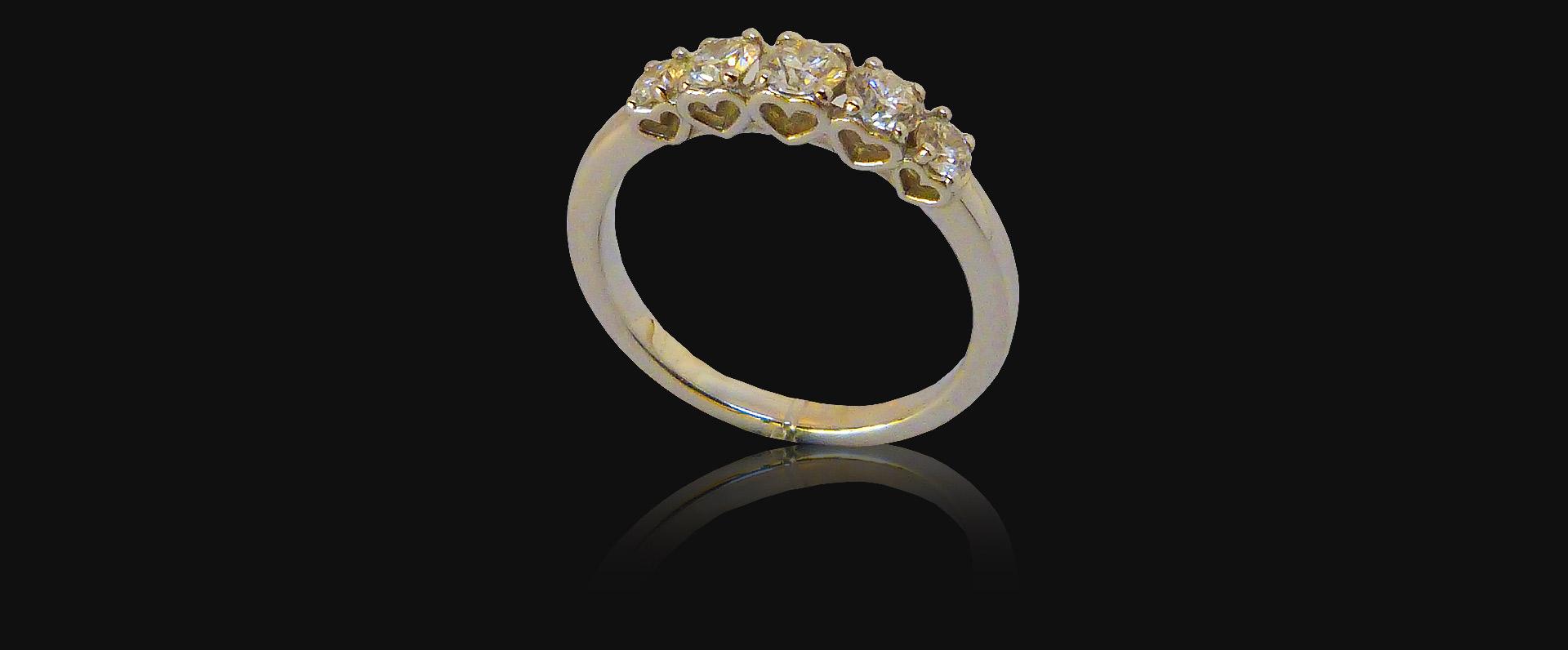 Alliance or blanc, diamants, femme