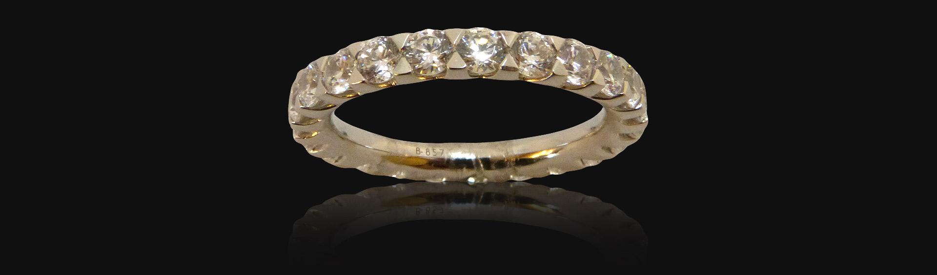 Alliance or blanc tour complet diamant, femme