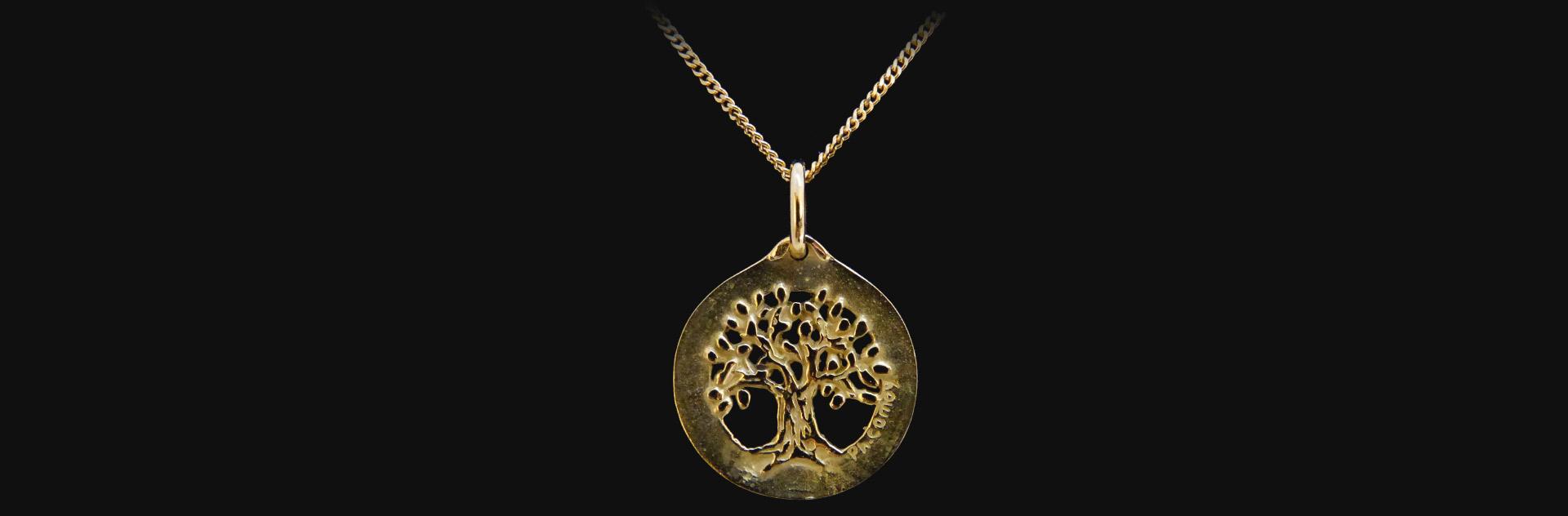 Médaille or jaune arbre de vie
